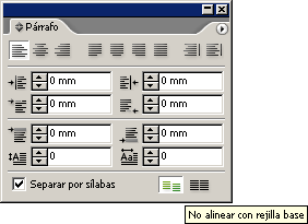 La paleta de párrafo en InDesign CS2.
