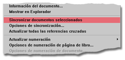 La opción de sincronización del libro en Adobe InDesign.