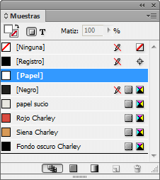 Las muestras de color en InDesign